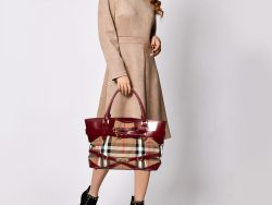 Burberry Beige/Maroon House Check Fabric and Leather Medium Bridle Lynher Tote
