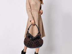 Burberry Brown/Black Check Canvas and Leather Buckle Hobo