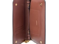Burberry Brown TB Monogram Coated Canvas and Leather Rowe Wallet on Chain
