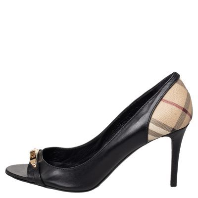 Burberry Black Leather And Check Coated Canvas Embellished Open Toe Pumps Size 41