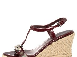 Burberry Burgundy Patent Leather And Nova Check Coated Canvas Wedge Espadrille Sandals Size 37