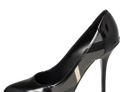 Burberry Black Nova Check Fabric And Patent Leather Pointed Toe Pumps Size 39.5