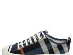 Burberry Blue Checked Canvas Kilbourne Lace Sneakers Size 37