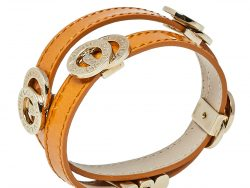 Bvlgari Tan Brown Leather Double Coiled Gold Plated Bracelet