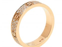 Cartier Love Pave Diamond 18K Rose Gold Band Ring Size 50