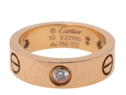 Cartier Love 3 Diamond 18K Rose Gold Band Ring Size 53