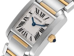 Cartier Silver 18K Yellow Gold And Stainless Steel Tank Francaise W51007Q4 Women's Wristwatch 25 x 20 MM