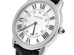 Cartier Silver Stainless Steel Leather Ronde Solo 2934 Women's Wristwatch 36 mm