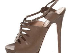 Casadei Brown Leather Cutout Open Toe Slingback Sandals Size 39