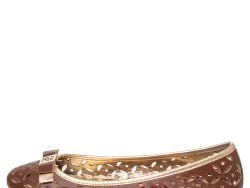 CH Carolina Herrera Brown Floral Cut Out Leather Bow Ballet Flats Size 38