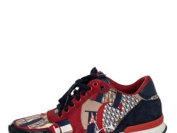 CH Carolina Herrera Multicolor CH Logo Print Fabric And Suede Low Top Sneakers Size 40
