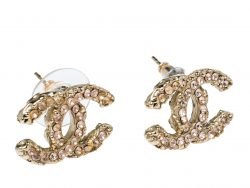 Chanel CC Pink Crystal Gold Tone Stud Earrings