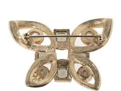 Chanel Crystal Faux Pearl Butterfly Gold Tone Pin Brooch