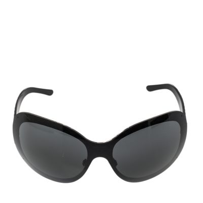 Chanel Black Quilted Acetate 4165 Shield Sunglasses