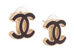 Chanel Gold Tone and Oxblood Leather CC Stud Earrings