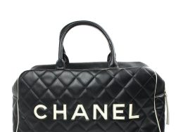 Chanel Black Quilted Leather Vintage Logo Duffle Bag