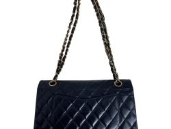 Chanel Black Quilted Lambskin Leather Timeless Flap Bag