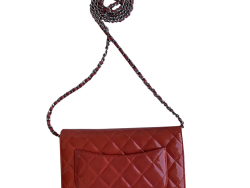 Chanel Red Patent Leather Wallet On Chain Bag