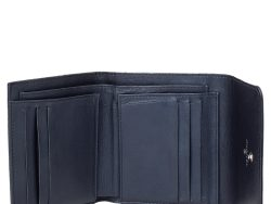 Chanel Navy Blue Quilted Caviar Leather CC Trifold Wallet