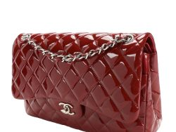 Chanel Red Patent Leather Classic Jumbo Double Flap Bag