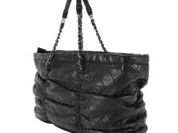 Chanel Black Quilted Lambskin Leather Sharpei Tote Bag