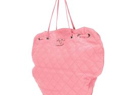Chanel Pink Caviar Leather Cocomark Drawstring Tote Bag