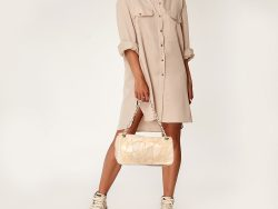 Chanel Beige Patchwork Leather Accordion Flap Bag