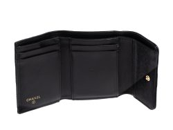 Chanel Black Quilted Caviar Leather Small Boy Wallet