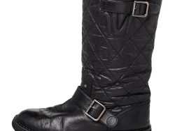 Chanel Black Quilted Coated Fabric And Leather Mid Calf Boots Size 38