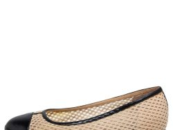 Chanel Black/Beige Cotton Knit and and Leather Cap Toe Flats Size 37