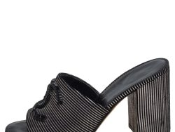 Chanel Black/Silver Striped Suede Bead CC Mules Size 36