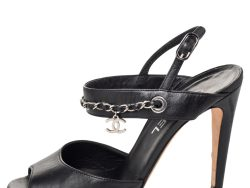 Chanel Black Leather CC Logo Chain Charms Slingback Sandals Size 36.5