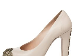 Chanel Beige Leather Embellished CC Cap Toe And Heel Pumps Size 39