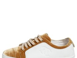Chanel Gold/White Rubber and Velvet CC Low Top Sneakers Size 39