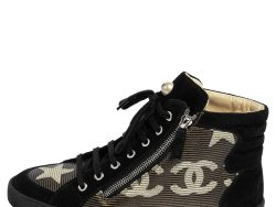 Chanel Black/Gold Stripe Canvas and Suede Paris Dallas High Top Sneakers Size 39