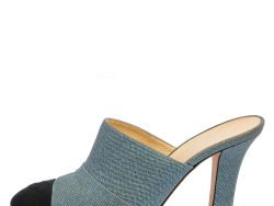 Chanel Black/Blue Denim and Fabric CC Mules Size 38