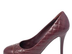 Chanel Burgundy Quilted Leather Scallop Detail CC Cap Toe Pumps Size 41