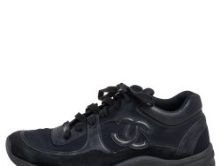 Chanel Black Leather and Fabric Low Top Sneakers Size 39