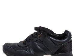 Chanel Black Leather CC Low Top Sneakers Size 37