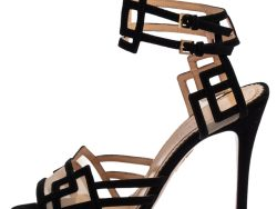 Charlotte Olympia Black Suede and Mesh Between The Lines Ankle Strap Sandals Size 39