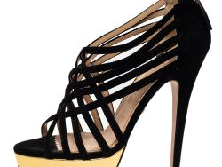 Charlotte Olympia Black Suede Peep Toe Platform Strappy Sandals Size 37