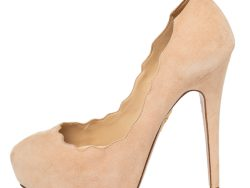 Charlotte Olympia Beige Suede Scalloped Platform Pumps Size 39