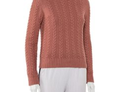 Chloe Marron Rouge Cotton Cable Knit Sweater XS