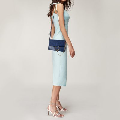 Chloe Blue Leather and Suede Small Faye Shoulder Bag