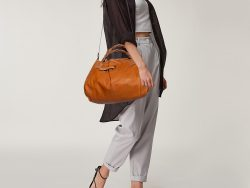 Chloe Tan Leather Braided Handle Convertible Tote