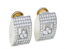 Chopard Happy Curves Pave Diamond 18k White Gold Stud Earrings