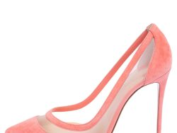 Christian Louboutin Peach Mesh And Suede Galativi Pointed Toe Pumps Size 39.5
