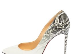 Christian Louboutin White/Grey Snake Print Ombre Patent Leather Pigalle Follies Pointed Toe Pumps Size 39.5