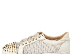 Christian Louboutin White Mesh and Leather AC Viera Spiked Orlato Low Top Sneakers 39