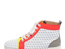 Christian Louboutin Multicolor Leather And Patent  Louis Spikes Lace Up High Top Sneakers Size 39